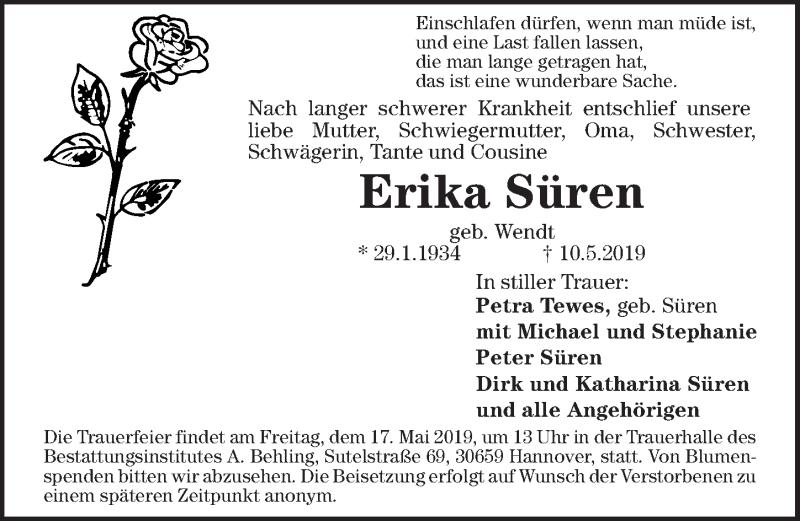 Traueranzeige für Erika Süren vom 15.05.2019 aus Hannoversche Allgemeine Zeitung/Neue Presse