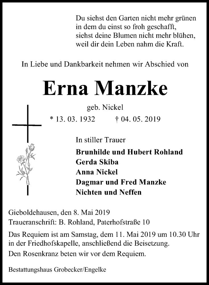 Traueranzeige für Erna Manzke vom 08.05.2019 aus Eichsfelder Tageblatt