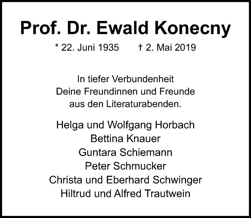 Traueranzeige für Ewald Konecny vom 12.05.2019 aus Lübecker Nachrichten