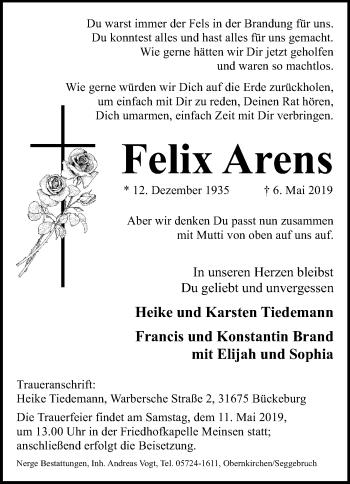 Traueranzeige für Felix Arens vom 09.05.2019 aus Schaumburger Nachrichten