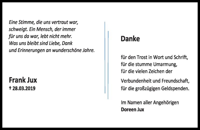 Traueranzeige für Frank Jux vom 27.04.2019 aus Kieler Nachrichten