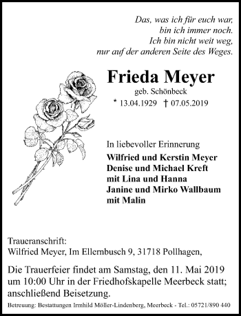 Traueranzeige für Frieda Meyer vom 09.05.2019 aus Schaumburger Nachrichten