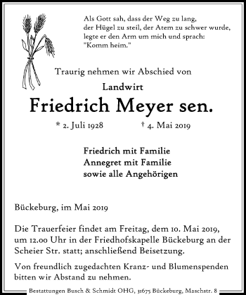 Traueranzeige für Friedrich Meyer vom 07.05.2019 aus Schaumburger Nachrichten