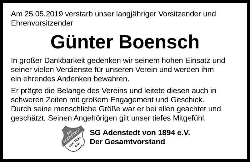 Traueranzeige für Günter Boensch vom 31.05.2019 aus Peiner Allgemeine Zeitung