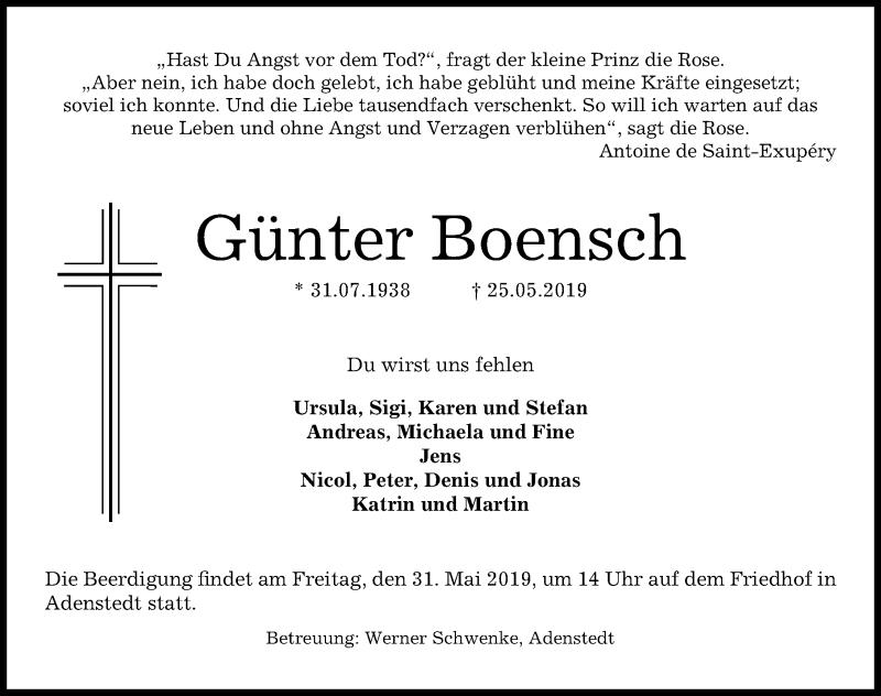Traueranzeige für Günter Boensch vom 28.05.2019 aus Peiner Allgemeine Zeitung