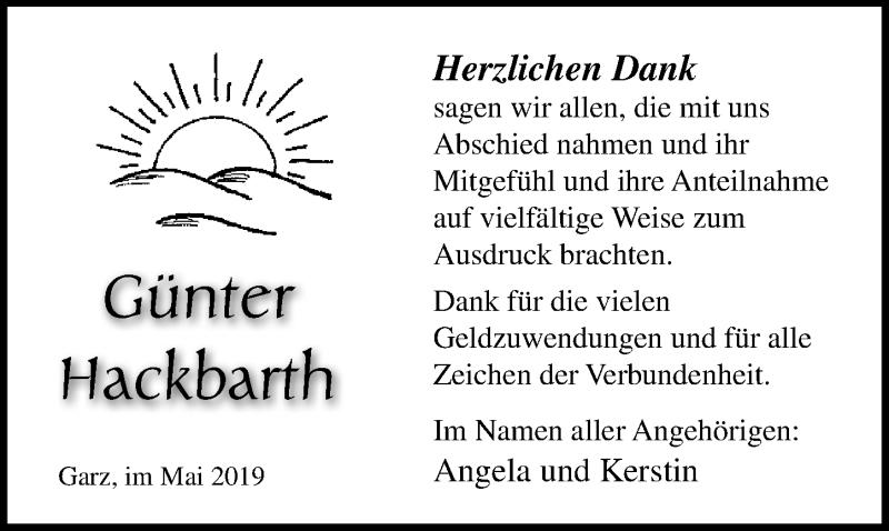Traueranzeige für Günter Hackbarth vom 25.05.2019 aus Ostsee-Zeitung GmbH