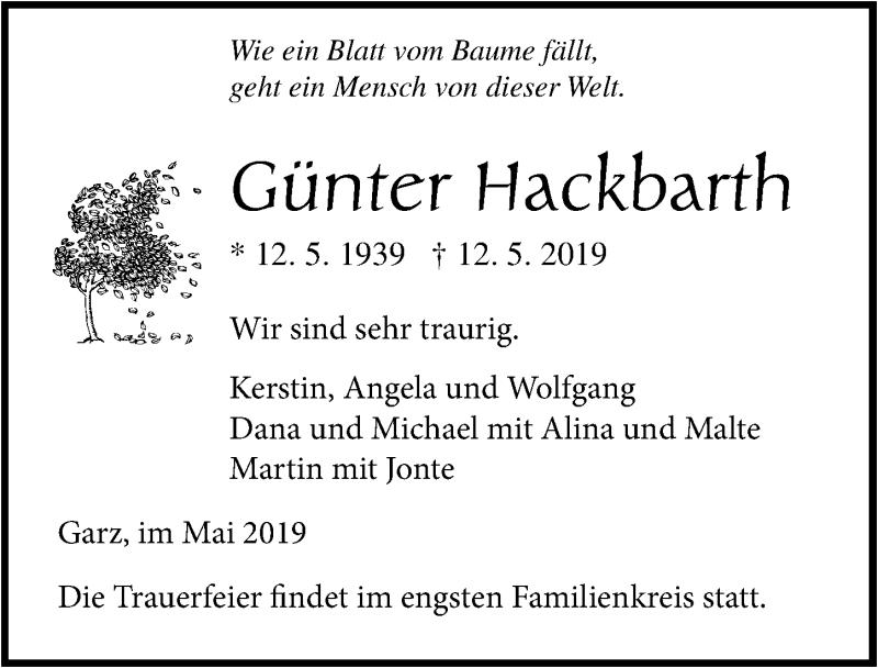 Traueranzeige für Günter Hackbarth vom 14.05.2019 aus Ostsee-Zeitung GmbH
