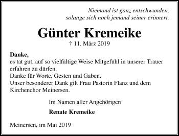 Traueranzeige für Günter Kremeike vom 04.05.2019 aus Aller Zeitung