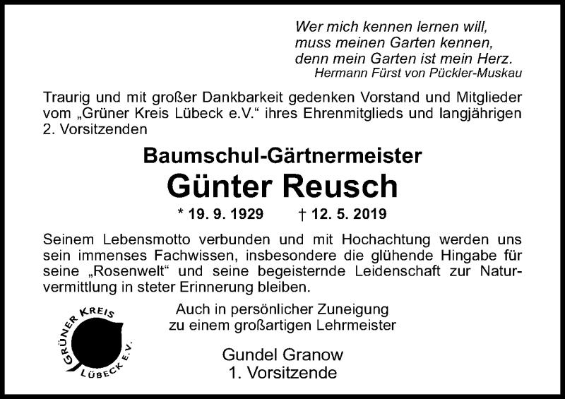 Traueranzeige von  Günter Reusch