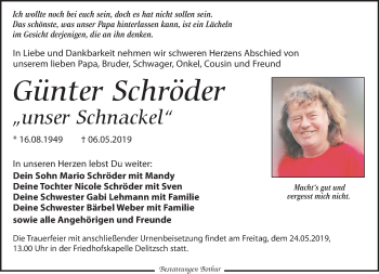 Traueranzeige für Günter Schröder vom 11.05.2019 aus Leipziger Volkszeitung
