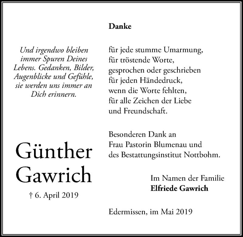 Traueranzeige für Günther Gawrich vom 11.05.2019 aus Peiner Allgemeine Zeitung
