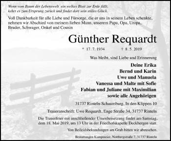 Traueranzeige für Günther Requardt vom 14.05.2019 aus Schaumburger Nachrichten