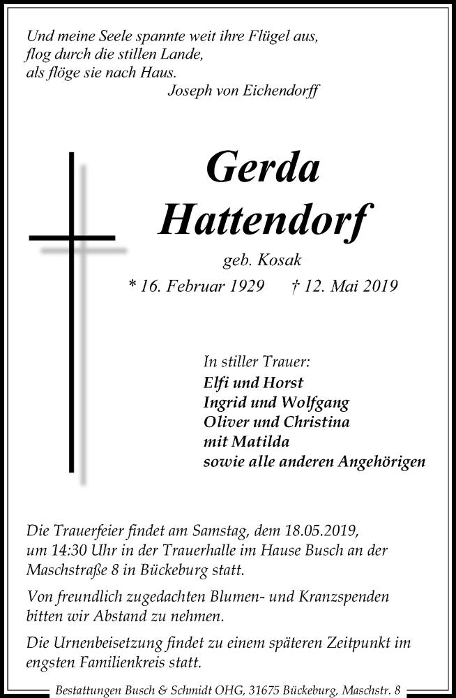 Traueranzeige für Gerda Hattendorf vom 15.05.2019 aus Schaumburger Nachrichten