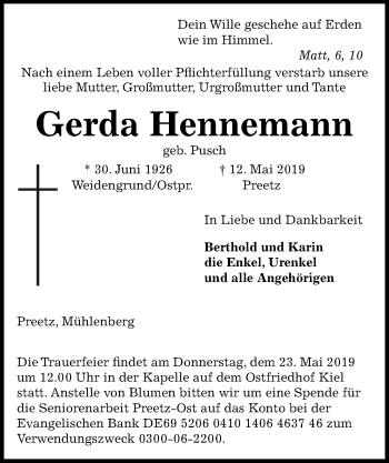 Traueranzeige für Gerda Hennemann vom 15.05.2019 aus Kieler Nachrichten