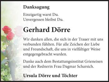 Traueranzeige für Gerhard Dörre vom 27.04.2019 aus Märkischen Allgemeine Zeitung