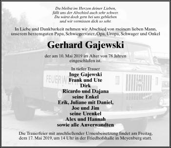 Traueranzeige für Gerhard Gajewski vom 11.05.2019 aus Märkischen Allgemeine Zeitung