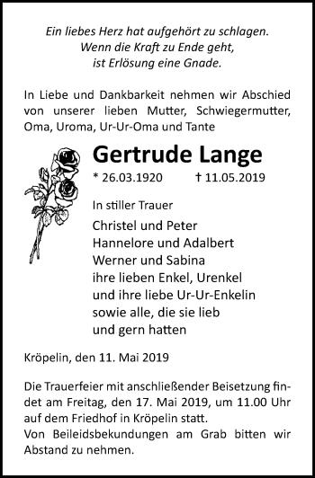 Traueranzeige für Gertrude Lange vom 15.05.2019 aus Ostsee-Zeitung GmbH