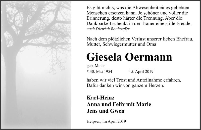 Traueranzeige für Giesela Oermann vom 04.05.2019 aus Schaumburger Nachrichten
