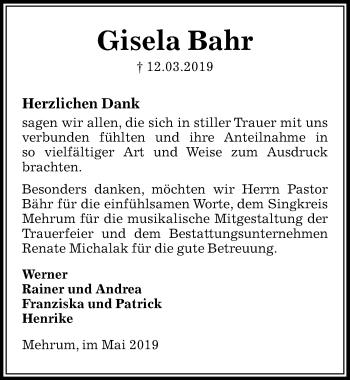 Traueranzeige für Gisela Bahr vom 04.05.2019 aus Peiner Allgemeine Zeitung