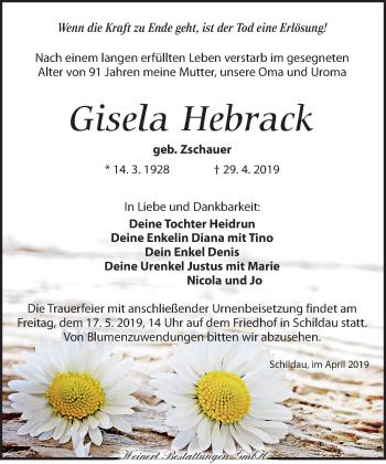 Traueranzeige für Gisela Hebrack vom 11.05.2019 aus Torgauer Zeitung