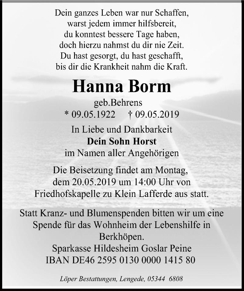 Traueranzeige für Hanna Borm vom 14.05.2019 aus Peiner Allgemeine Zeitung