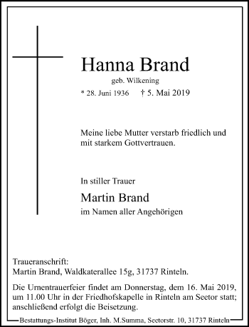 Traueranzeige für Hanna Brand vom 11.05.2019 aus Schaumburger Nachrichten