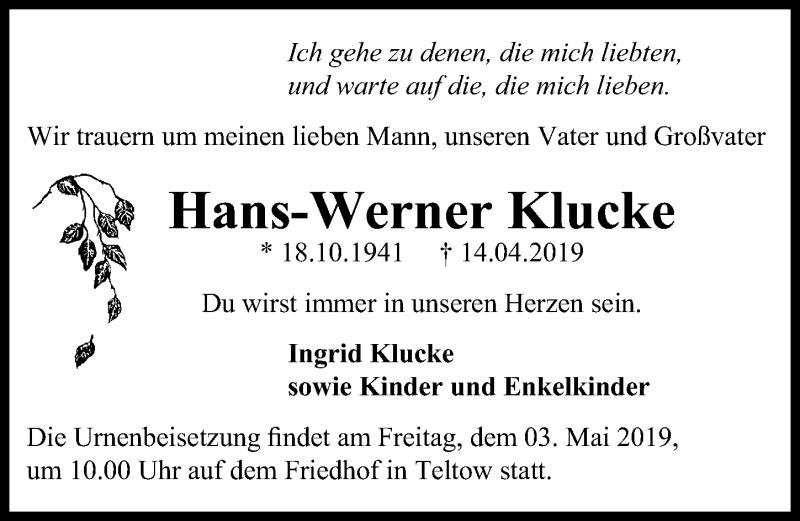 Traueranzeige für Hans-Werner Klucke vom 20.04.2019 aus Märkischen Allgemeine Zeitung