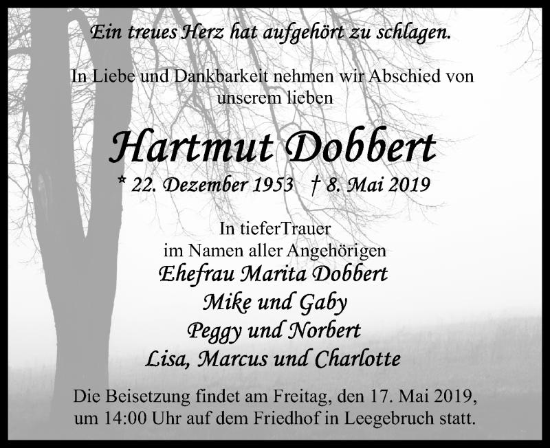 Traueranzeige für Hartmut Dobbert vom 14.05.2019 aus Märkischen Allgemeine Zeitung