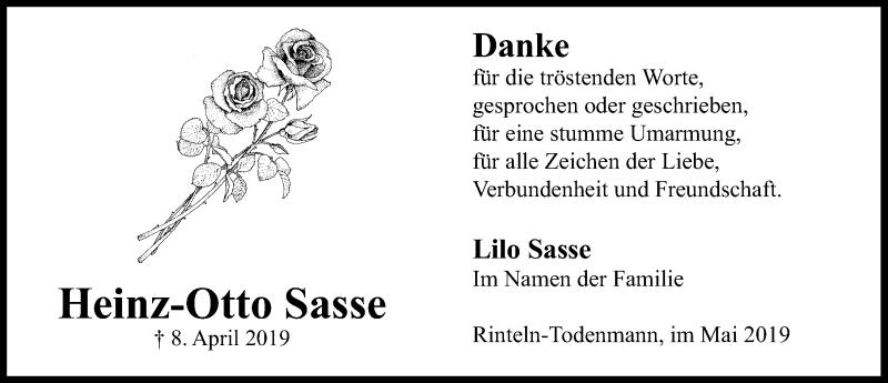 Traueranzeige für Heinz-Otto Sasse vom 11.05.2019 aus Schaumburger Nachrichten
