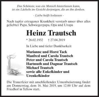 Traueranzeige für Heinz Trautsch vom 04.05.2019 aus Märkischen Allgemeine Zeitung