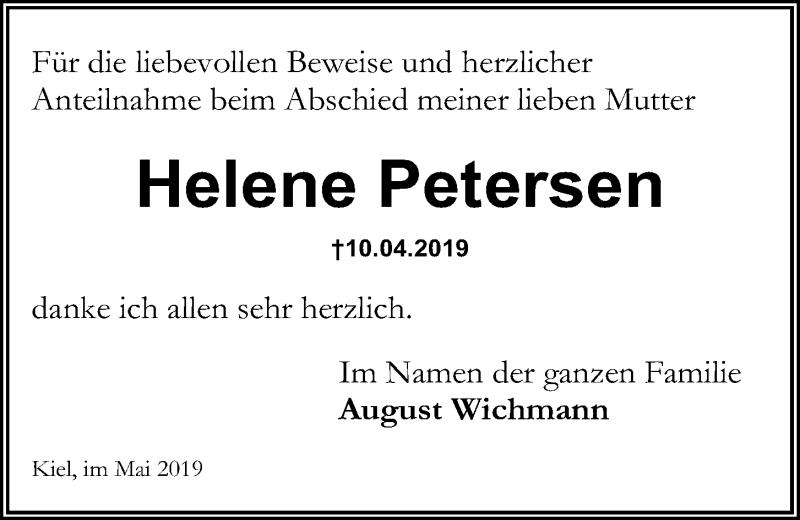 Traueranzeige für Helene Petersen vom 11.05.2019 aus Kieler Nachrichten