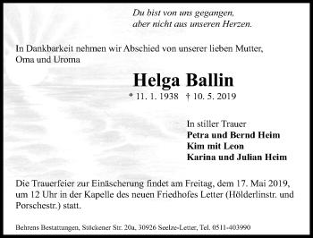 Traueranzeige für Helga Baltin vom 15.05.2019 aus Hannoversche Allgemeine Zeitung/Neue Presse