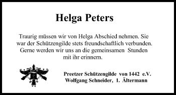 Traueranzeige für Helga Peters vom 15.05.2019 aus Kieler Nachrichten