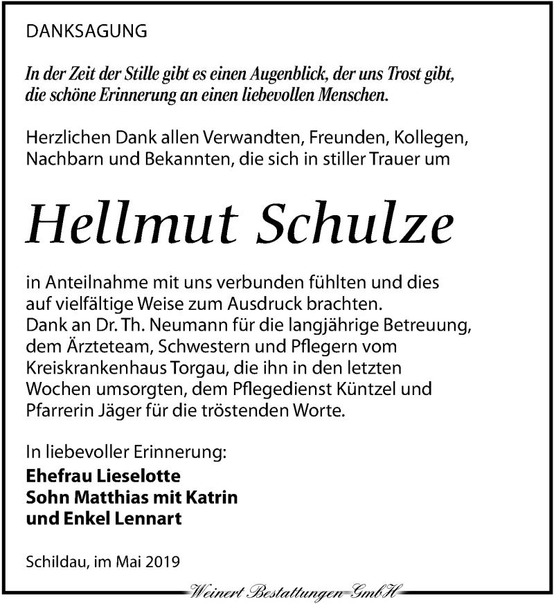 Traueranzeige für Hellmut Schulze vom 18.05.2019 aus Torgauer Zeitung