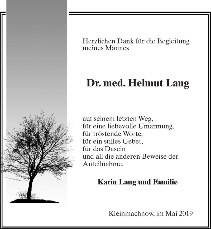Traueranzeige für Helmut Lang vom 25.05.2019 aus Märkischen Allgemeine Zeitung