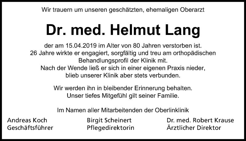 Traueranzeige für Helmut Lang vom 18.05.2019 aus Märkischen Allgemeine Zeitung