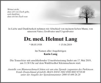 Traueranzeige für Helmut Lang vom 20.04.2019 aus Märkischen Allgemeine Zeitung