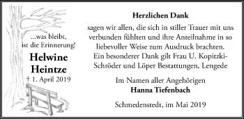 Traueranzeige für Helwine Heintze vom 11.05.2019 aus Peiner Allgemeine Zeitung