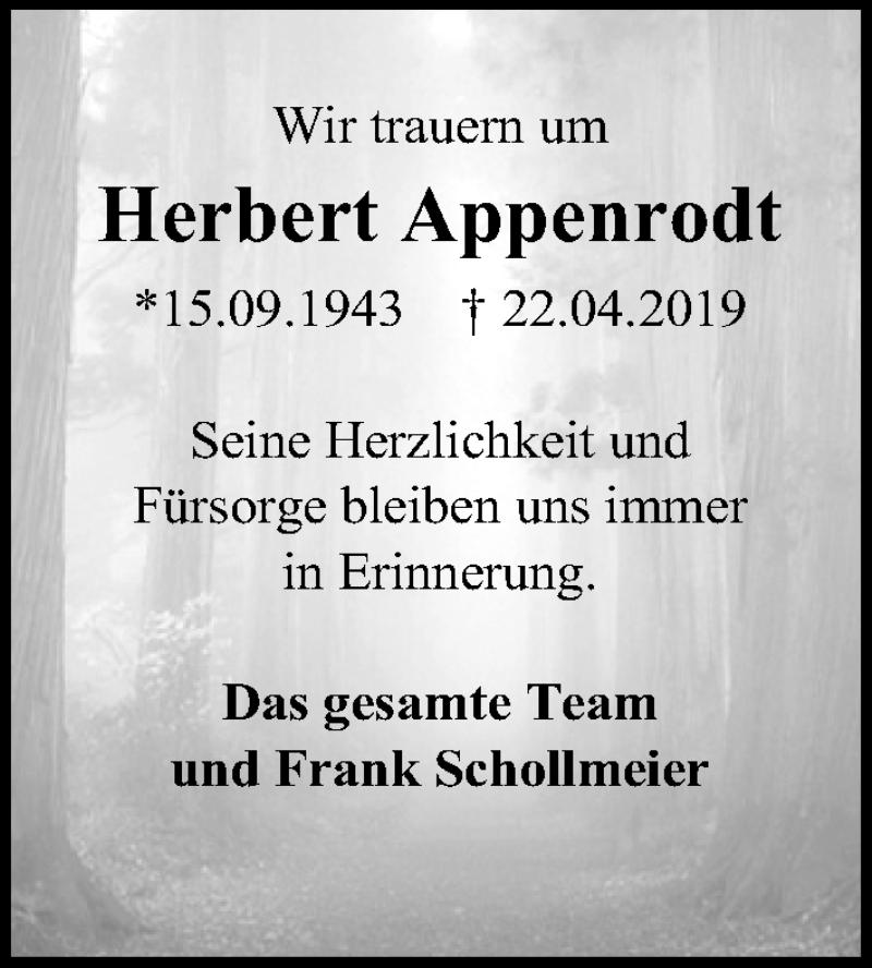 Traueranzeige für Herbert Appenrodt vom 04.05.2019 aus Hannoversche Allgemeine Zeitung/Neue Presse
