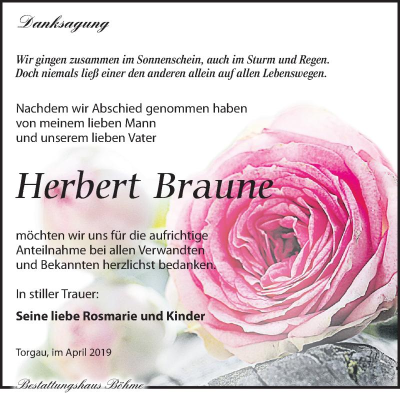 Traueranzeige für Herbert Braune vom 27.04.2019 aus Torgauer Zeitung
