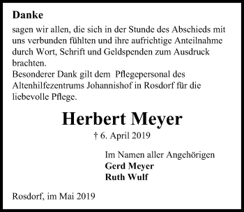 Traueranzeige für Herbert Meyer vom 04.05.2019 aus Göttinger Tageblatt