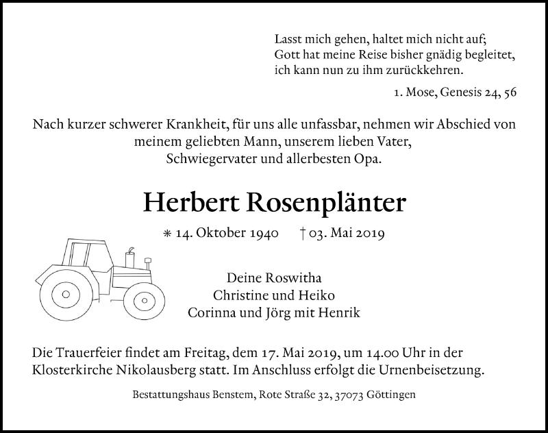 Traueranzeige für Herbert Rosenplänter vom 11.05.2019 aus Göttinger Tageblatt