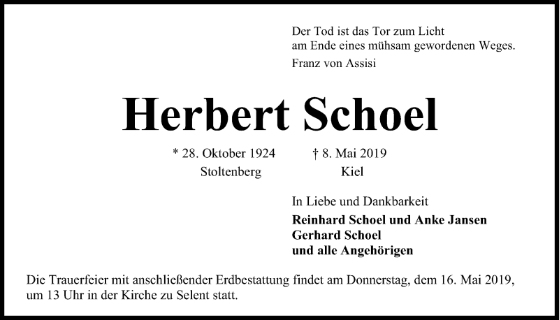 Traueranzeige für Herbert Schoel vom 15.05.2019 aus Kieler Nachrichten