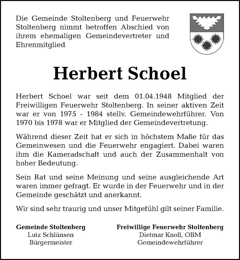 Traueranzeige für Herbert Schoel vom 16.05.2019 aus Kieler Nachrichten