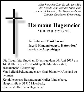 Traueranzeige für Hermann Hagemeier vom 29.05.2019 aus Schaumburger Nachrichten