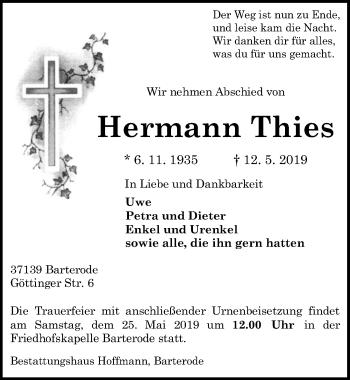 Traueranzeige für Hermann Thies vom 18.05.2019 aus Göttinger Tageblatt