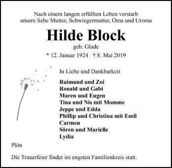 Traueranzeige für Hilde Block vom 11.05.2019 aus Kieler Nachrichten