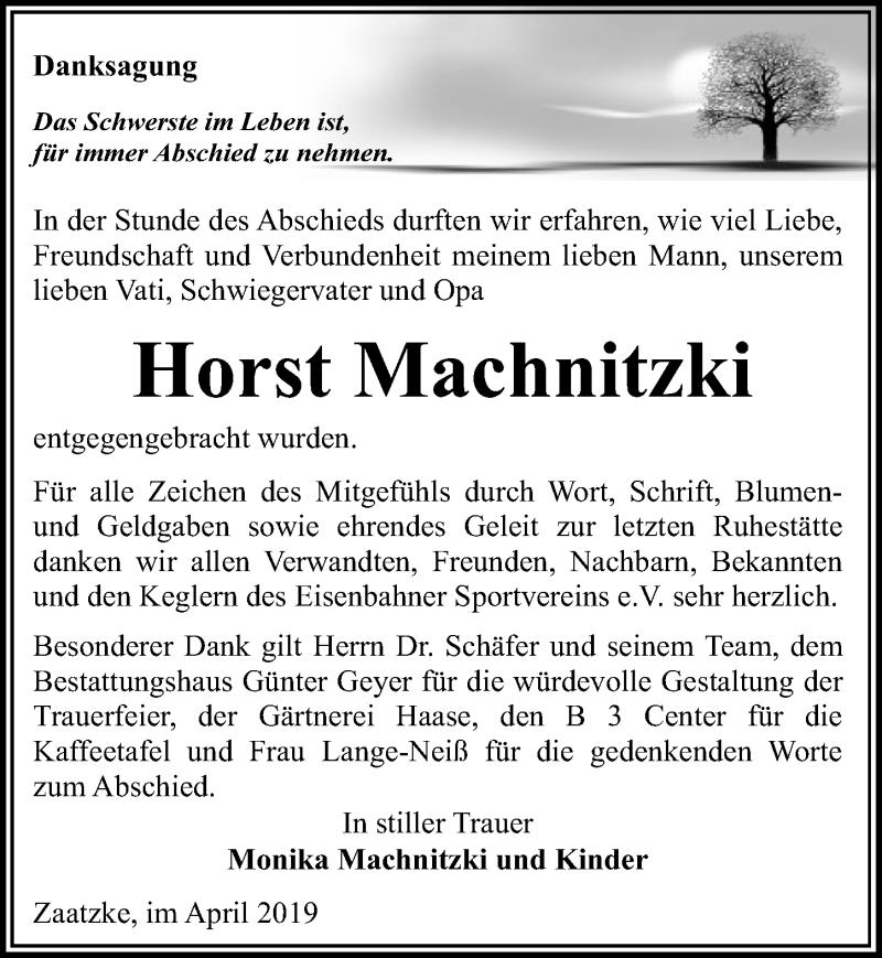 Traueranzeige für Horst Machnitzki vom 04.05.2019 aus Märkischen Allgemeine Zeitung
