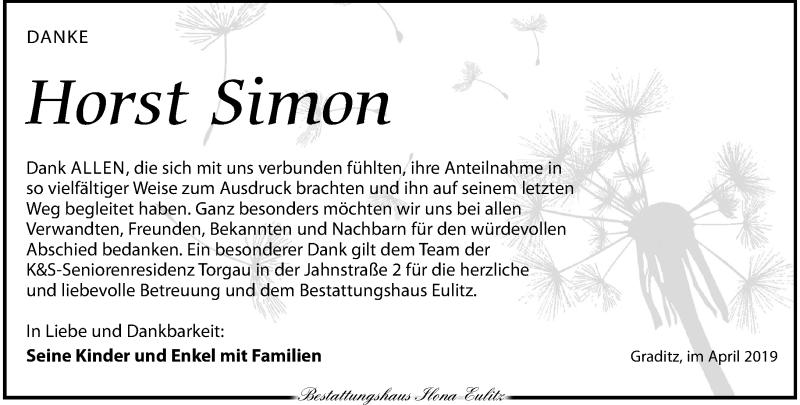Traueranzeige für Horst Simon vom 11.05.2019 aus Torgauer Zeitung