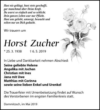 Traueranzeige für Horst Zucher vom 11.05.2019 aus Torgauer Zeitung